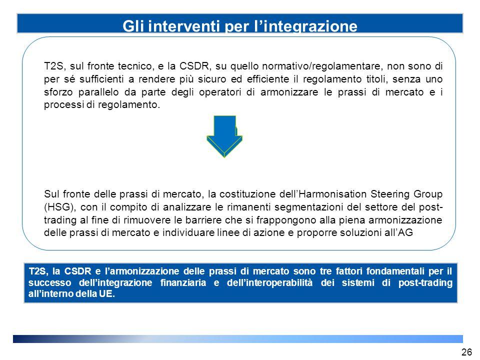 Gli interventi per l'integrazione T2S, sul fronte tecnico, e la CSDR, su quello normativo/regolamentare, non sono di per sé sufficienti a rendere più