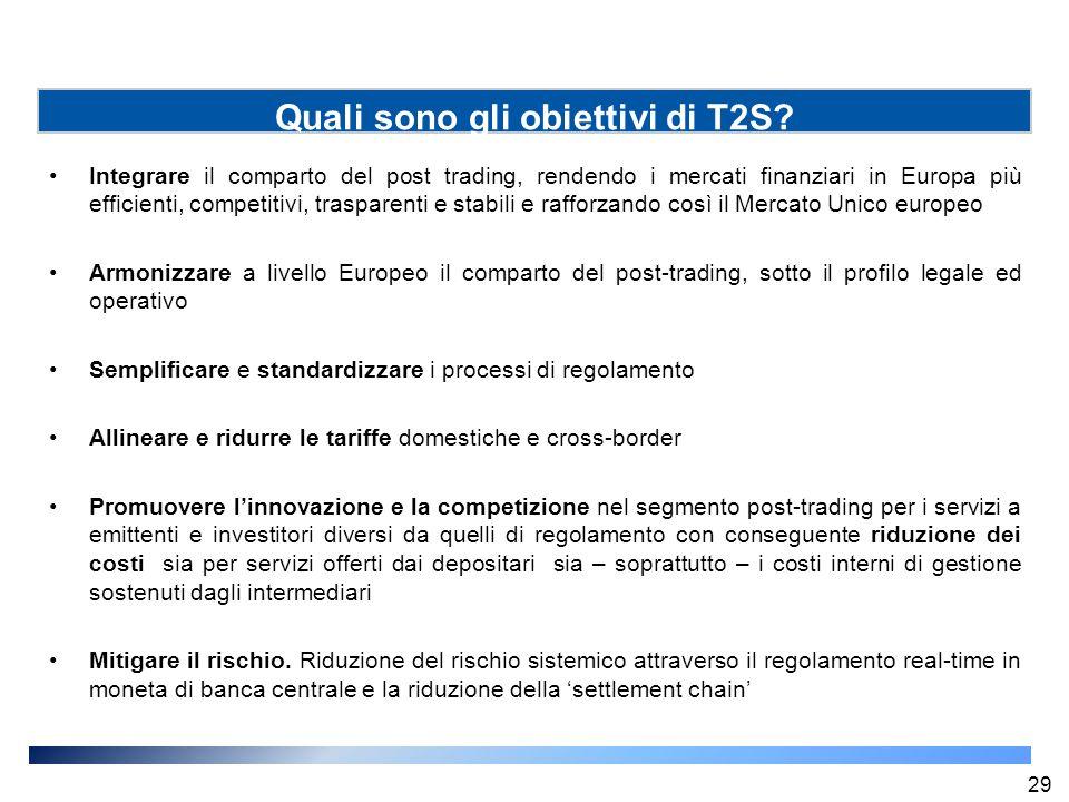 Integrare il comparto del post trading, rendendo i mercati finanziari in Europa più efficienti, competitivi, trasparenti e stabili e rafforzando così