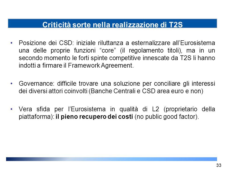 """Posizione dei CSD: iniziale riluttanza a esternalizzare all'Eurosistema una delle proprie funzioni """"core"""" (il regolamento titoli), ma in un secondo mo"""
