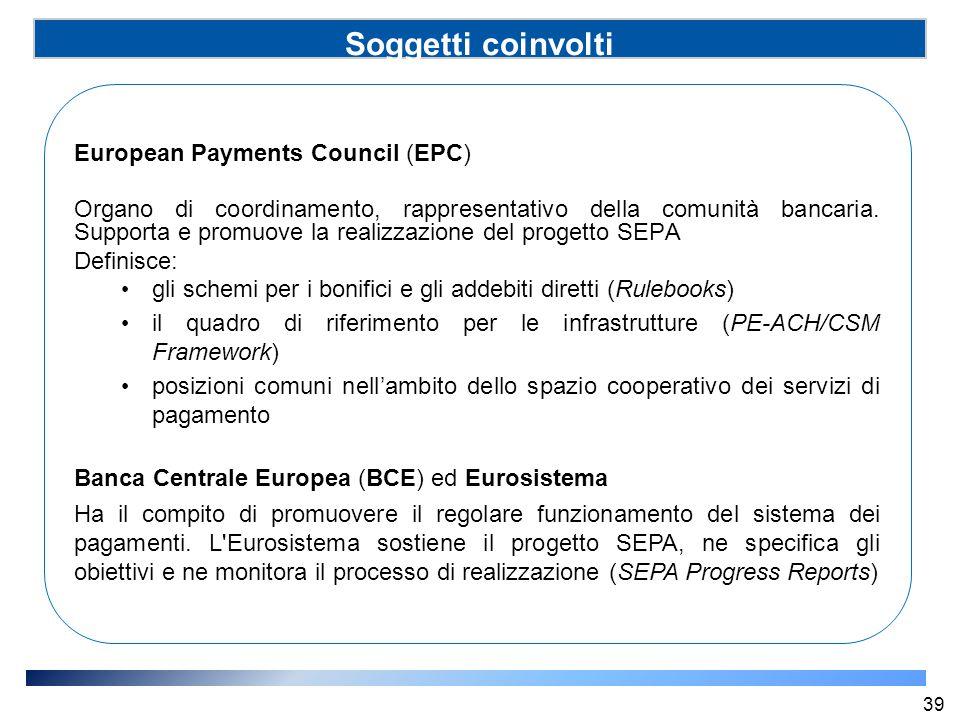Soggetti coinvolti (SSP) European Payments Council (EPC) Organo di coordinamento, rappresentativo della comunità bancaria. Supporta e promuove la real