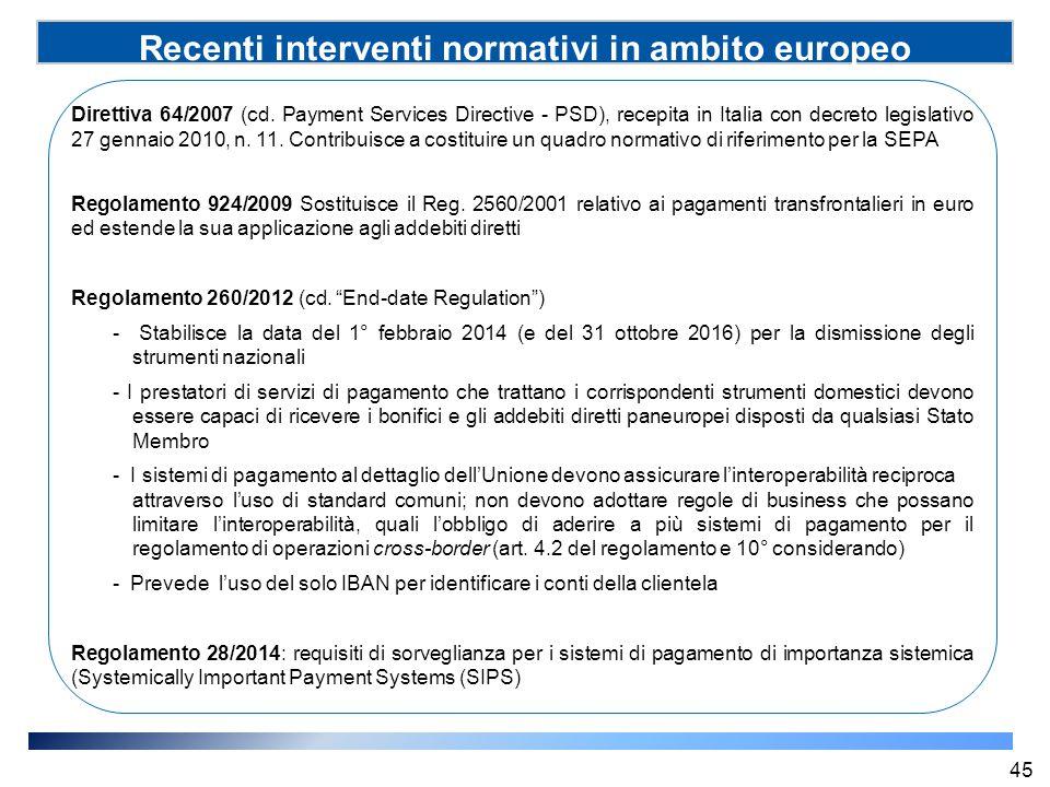 Recenti interventi normativi in ambito europeo (SSP) Direttiva 64/2007 (cd. Payment Services Directive - PSD), recepita in Italia con decreto legislat