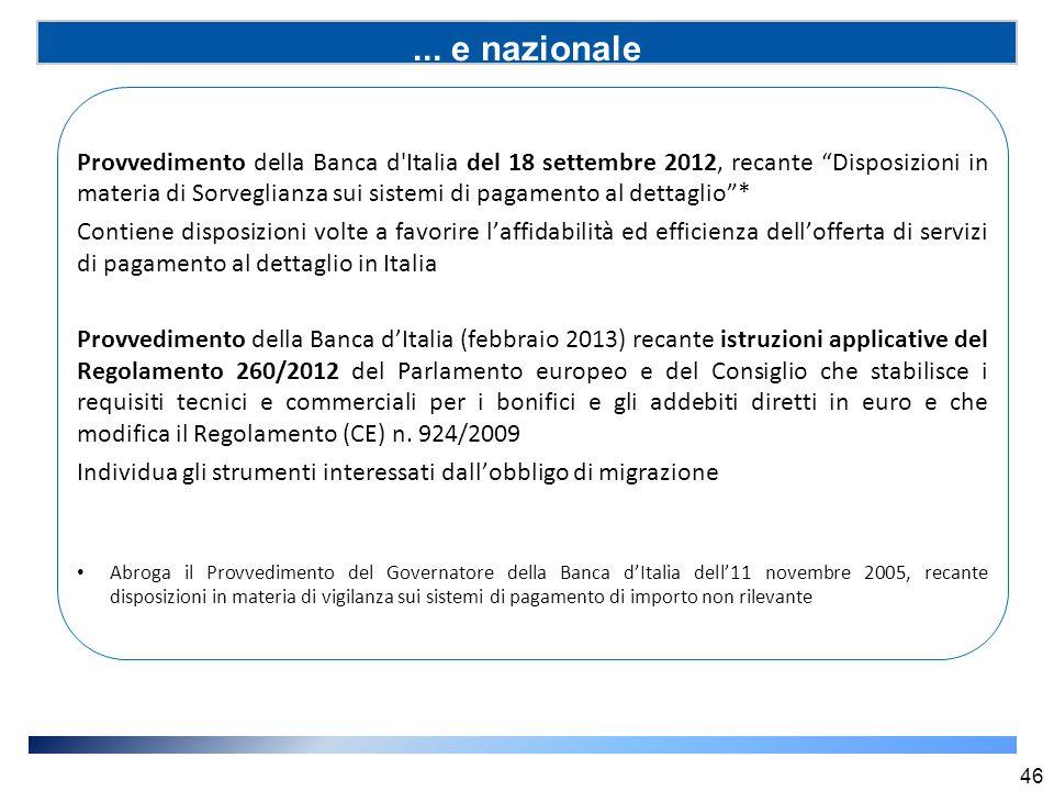 """... e nazionale (SSP) 46 Provvedimento della Banca d'Italia del 18 settembre 2012, recante """"Disposizioni in materia di Sorveglianza sui sistemi di pag"""