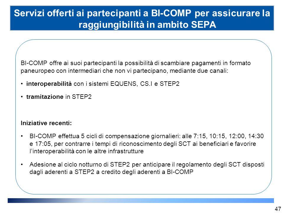 Servizi offerti ai partecipanti a BI-COMP per assicurare la raggiungibilità in ambito SEPA (SSP) 47 BI-COMP offre ai suoi partecipanti la possibilità