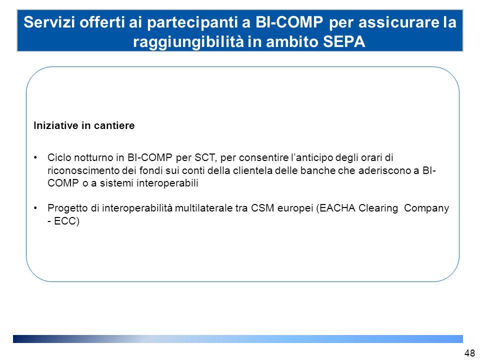 Servizi offerti ai partecipanti a BI-COMP per assicurare la raggiungibilità in ambito SEPA (SSP) 48 Iniziative in cantiere Ciclo notturno in BI-COMP p