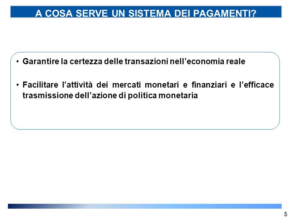 A COSA SERVE UN SISTEMA DEI PAGAMENTI? Garantire la certezza delle transazioni nell'economia reale Facilitare l'attività dei mercati monetari e finanz