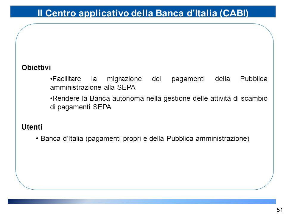 Il Centro applicativo della Banca d'Italia (CABI) (SSP) 51 Obiettivi Facilitare la migrazione dei pagamenti della Pubblica amministrazione alla SEPA R