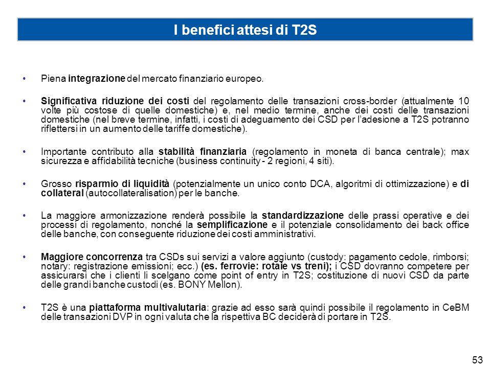 I benefici attesi di T2S Piena integrazione del mercato finanziario europeo. Significativa riduzione dei costi del regolamento delle transazioni cross