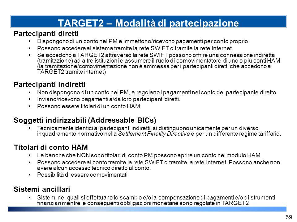 TARGET2 – Modalità di partecipazione Partecipanti diretti Dispongono di un conto nel PM e immettono/ricevono pagamenti per conto proprio Possono acced