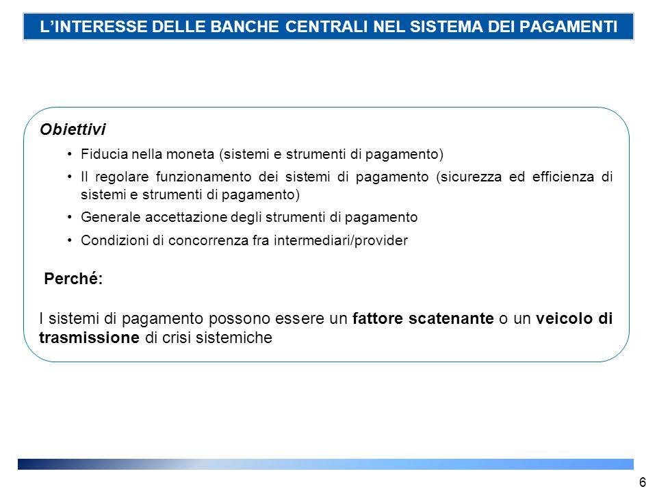 L'INTERESSE DELLE BANCHE CENTRALI NEL SISTEMA DEI PAGAMENTI Obiettivi Fiducia nella moneta (sistemi e strumenti di pagamento) Il regolare funzionament