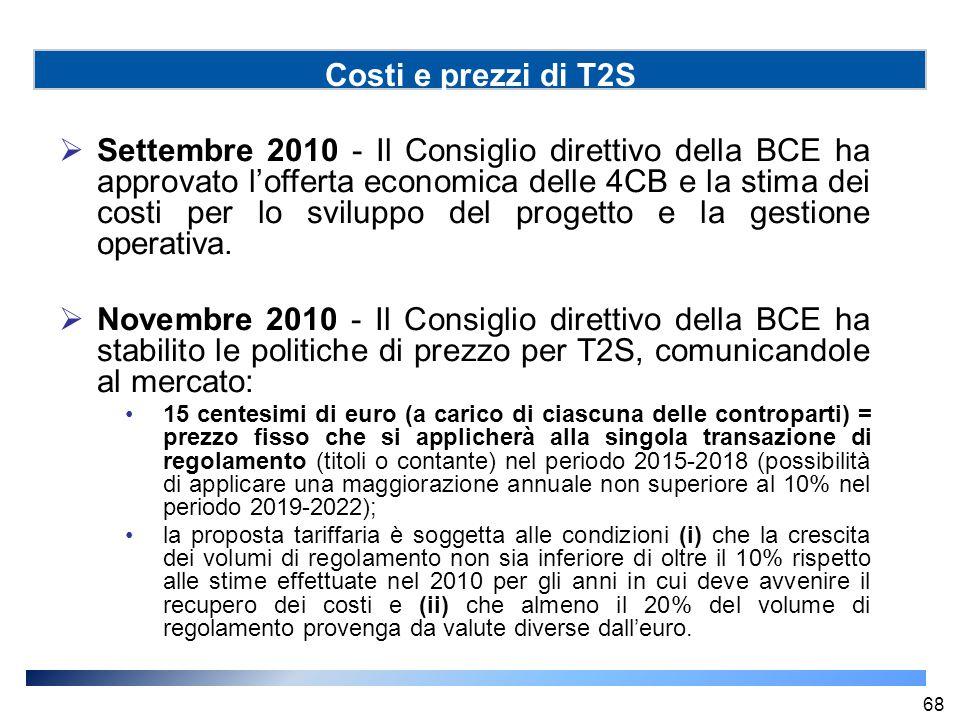 Costi e prezzi di T2S  Settembre 2010 - Il Consiglio direttivo della BCE ha approvato l'offerta economica delle 4CB e la stima dei costi per lo svilu