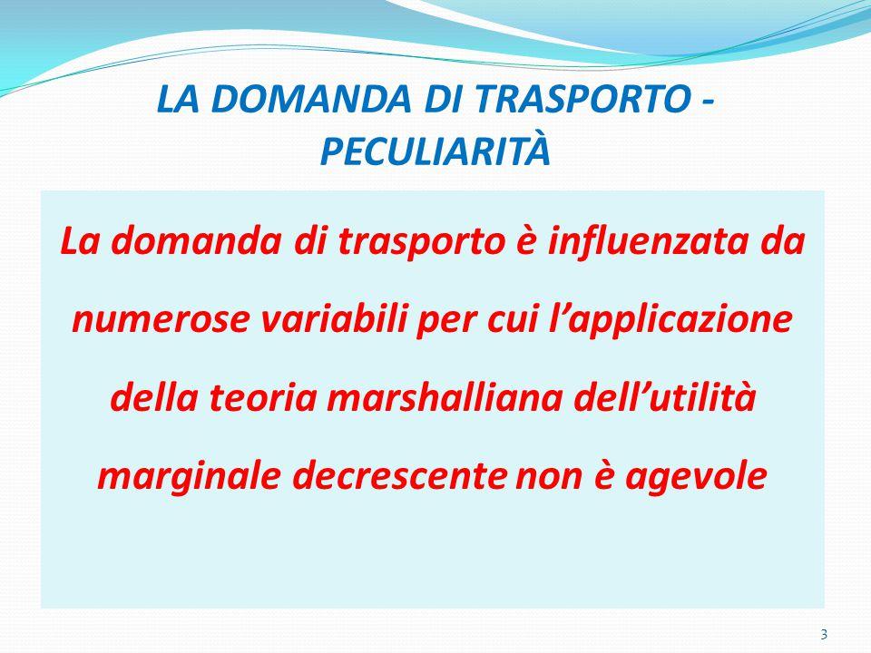 LA DOMANDA DI TRASPORTO - PECULIARITÀ La domanda di trasporto è influenzata da numerose variabili per cui l'applicazione della teoria marshalliana dell'utilità marginale decrescente non è agevole 3