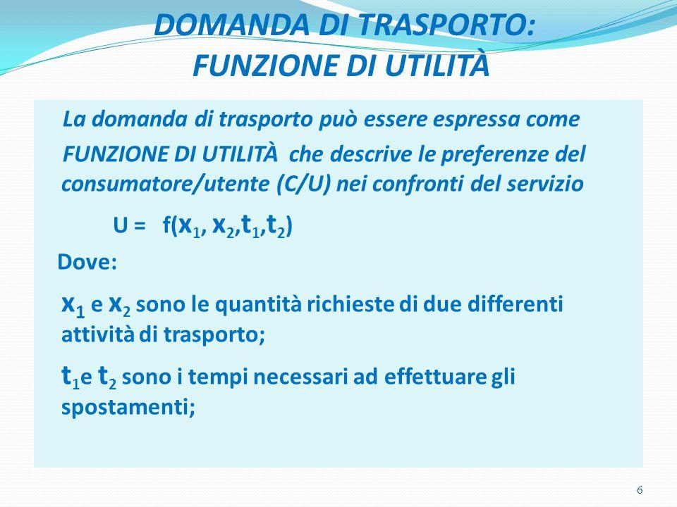 DOMANDA DI TRASPORTO: FUNZIONE DI UTILITÀ La domanda di trasporto può essere espressa come FUNZIONE DI UTILITÀ che descrive le preferenze del consumatore/utente (C/U) nei confronti del servizio U = f( x 1, x 2, t 1, t 2 ) Dove: x 1 e x 2 sono le quantità richieste di due differenti attività di trasporto; t 1 e t 2 sono i tempi necessari ad effettuare gli spostamenti; 6