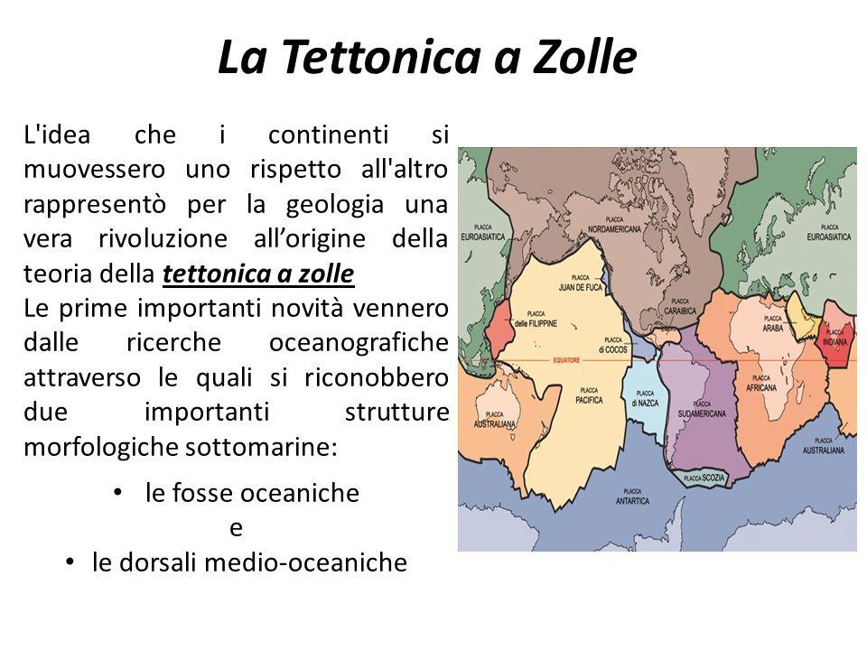 Movimenti delle Placche continentali Il movimento delle zolle o placche continentali porta a tre tipi di contatti possibili tra i margini ma in questa trattazione ci occuperemo solo di 2 di questi : convergenti divergenti Questi movimenti danno origine alle 2 tipologie di strutture geologiche accennate, cioè le 1.le fosse oceaniche 2.le dorsali medio-oceaniche