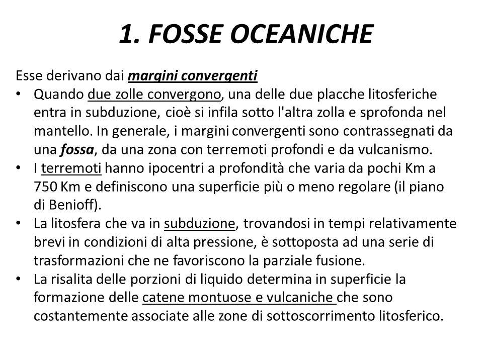 1. FOSSE OCEANICHE Esse derivano dai margini convergenti Quando due zolle convergono, una delle due placche litosferiche entra in subduzione, cioè si