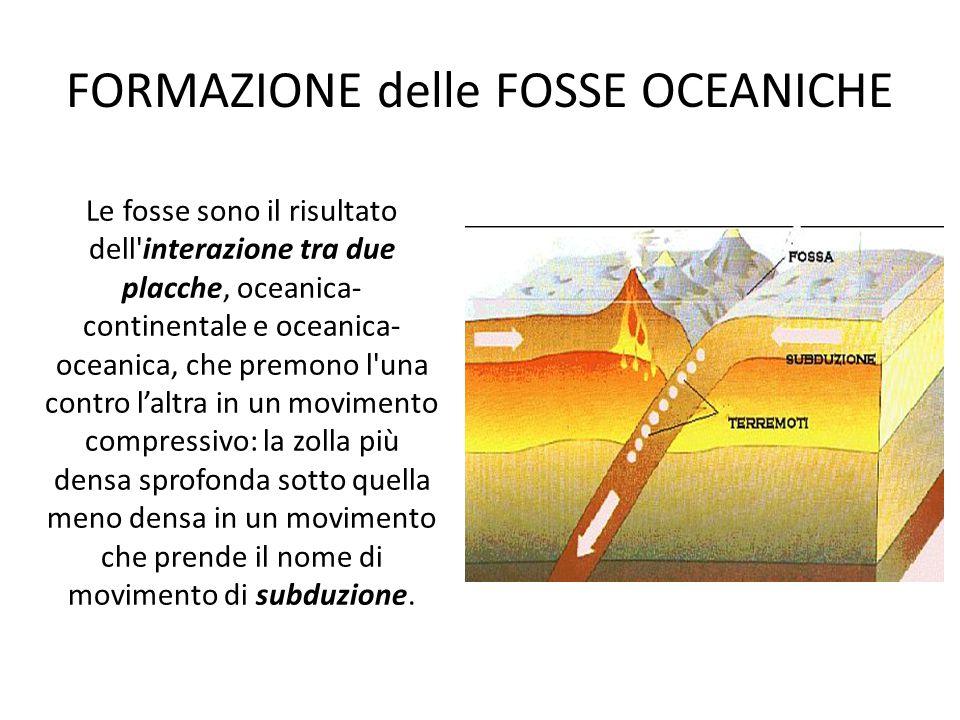 FORMAZIONE delle FOSSE OCEANICHE Le fosse sono il risultato dell'interazione tra due placche, oceanica- continentale e oceanica- oceanica, che premono