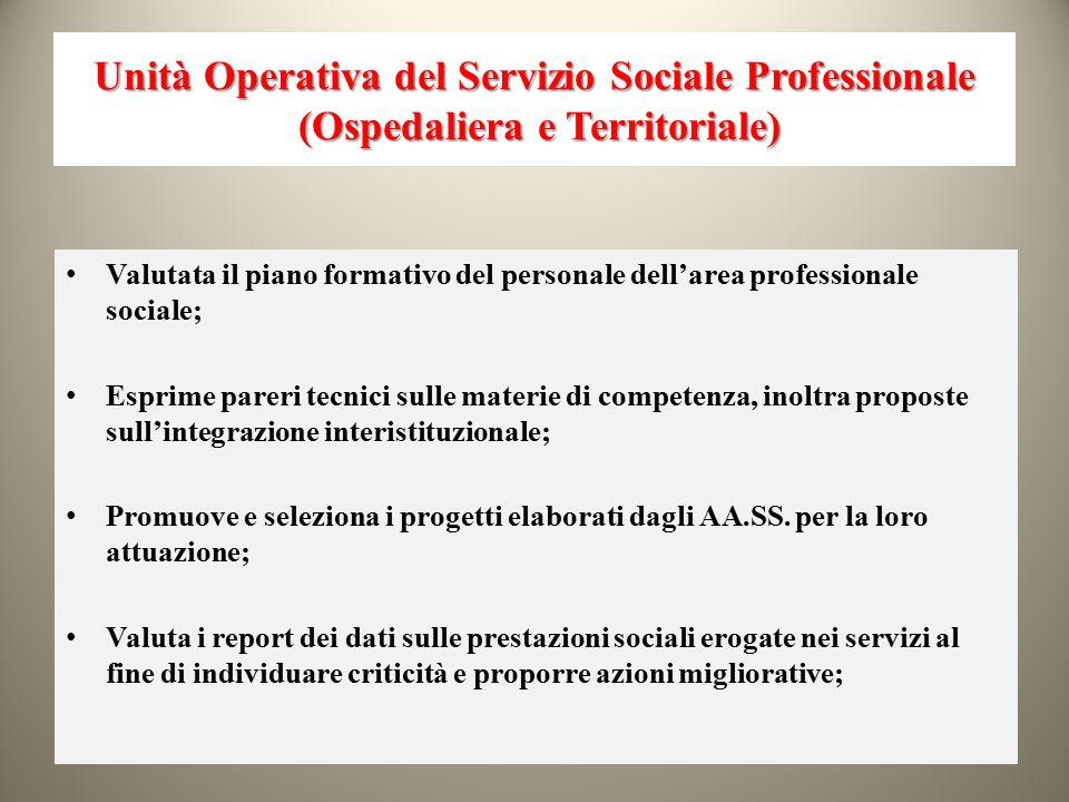 Unità Operativa del Servizio Sociale Professionale (Ospedaliera e Territoriale) Valutata il piano formativo del personale dell'area professionale soci