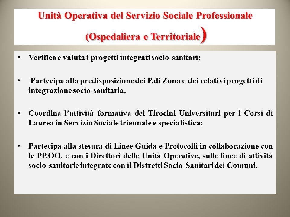 Unità Operativa del Servizio Sociale Professionale (Ospedaliera e Territoriale ) Verifica e valuta i progetti integrati socio-sanitari; Partecipa alla
