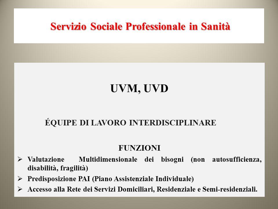 Servizio Sociale Professionale in Sanità Servizio Sociale Professionale in Sanità UVM, UVD ÉQUIPE DI LAVORO INTERDISCIPLINARE FUNZIONI  Valutazione M