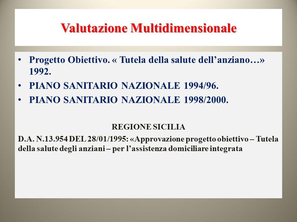 Valutazione Multidimensionale Progetto Obiettivo. « Tutela della salute dell'anziano…» 1992. PIANO SANITARIO NAZIONALE 1994/96. PIANO SANITARIO NAZION