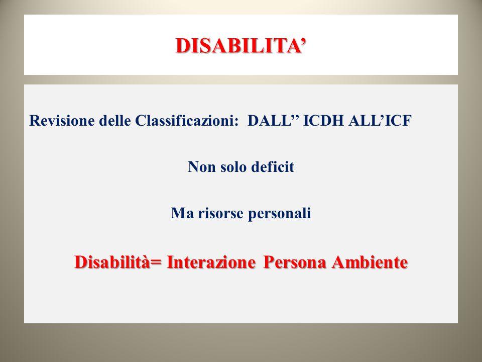 DISABILITA' Revisione delle Classificazioni: DALL'' ICDH ALL'ICF Non solo deficit Ma risorse personali Disabilità= Interazione Persona Ambiente