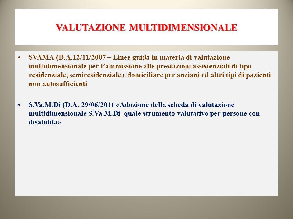VALUTAZIONE MULTIDIMENSIONALE SVAMA (D.A.12/11/2007 – Linee guida in materia di valutazione multidimensionale per l'ammissione alle prestazioni assist