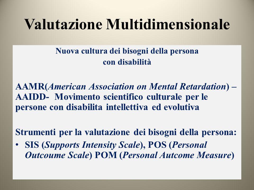 Valutazione Multidimensionale Nuova cultura dei bisogni della persona con disabilità AAMR(American Association on Mental Retardation) – AAIDD- Movimen