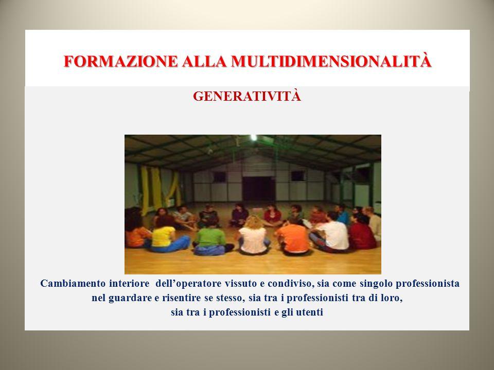 FORMAZIONE ALLA MULTIDIMENSIONALITÀ GENERATIVITÀ Cambiamento interiore dell'operatore vissuto e condiviso, sia come singolo professionista nel guardar