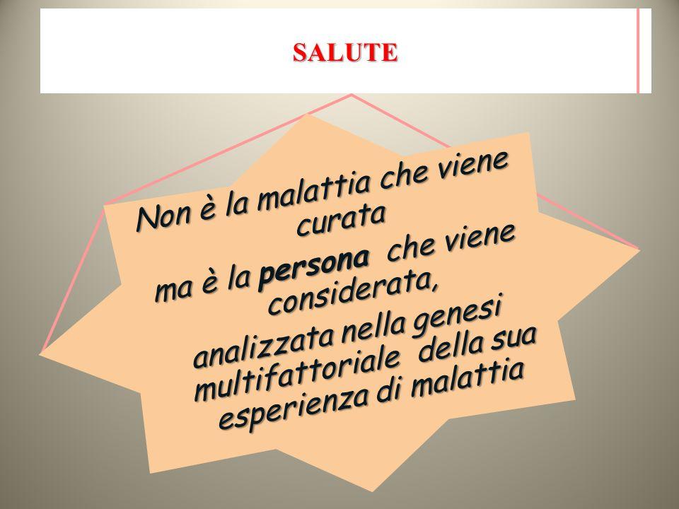 SALUTE Non è la malattia che viene curata ma è la persona che viene considerata, analizzata nella genesi multifattoriale della sua esperienza di malat