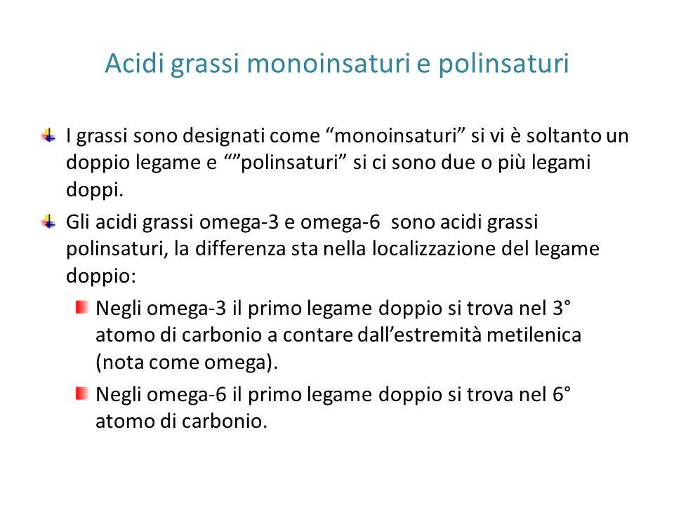 """Acidi grassi monoinsaturi e polinsaturi I grassi sono designati come """"monoinsaturi"""" si vi è soltanto un doppio legame e """"""""polinsaturi"""" si ci sono due"""