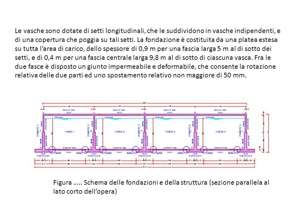 Figura ….. Schema delle fondazioni e della struttura (sezione parallela al lato corto dell'opera) Le vasche sono dotate di setti longitudinali, che le
