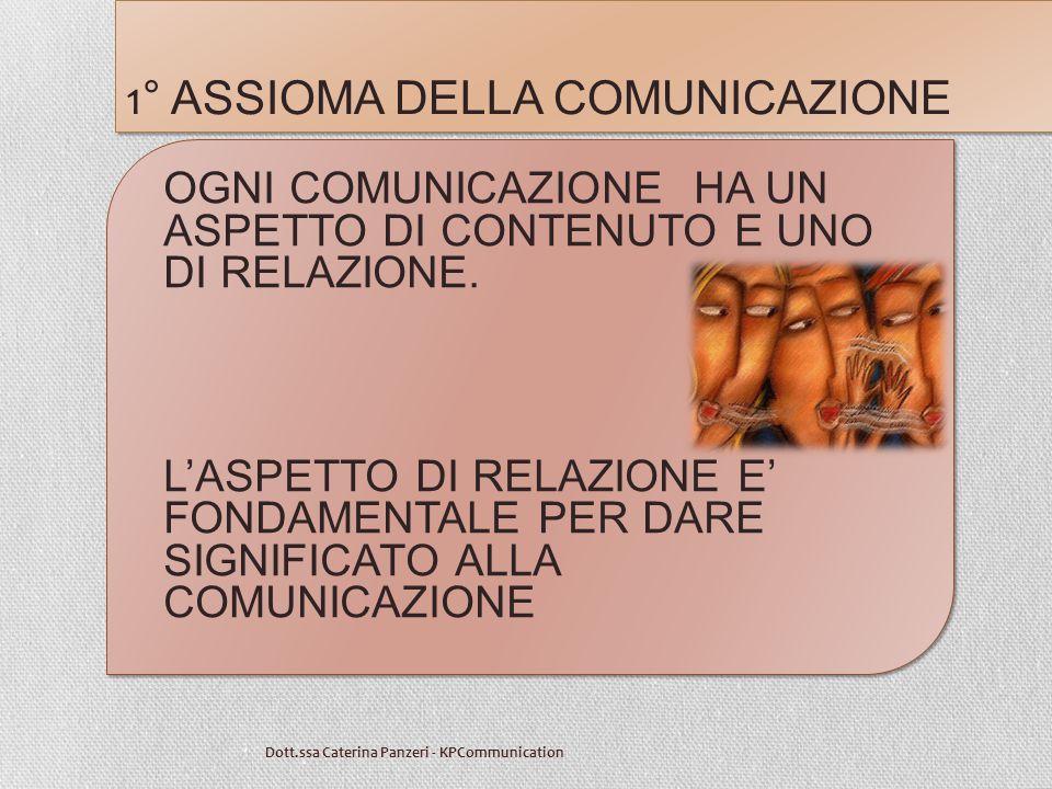 1 ° ASSIOMA DELLA COMUNICAZIONE Dott.ssa Caterina Panzeri - KPCommunication