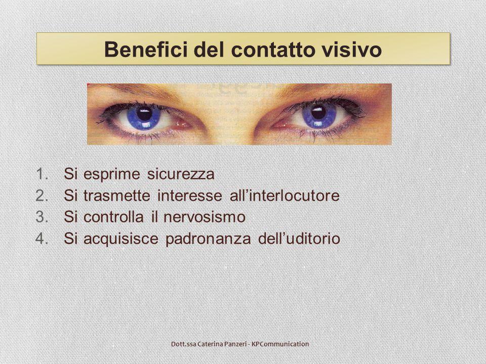Benefici del contatto visivo 1.Si esprime sicurezza 2.Si trasmette interesse all'interlocutore 3.Si controlla il nervosismo 4.Si acquisisce padronanza