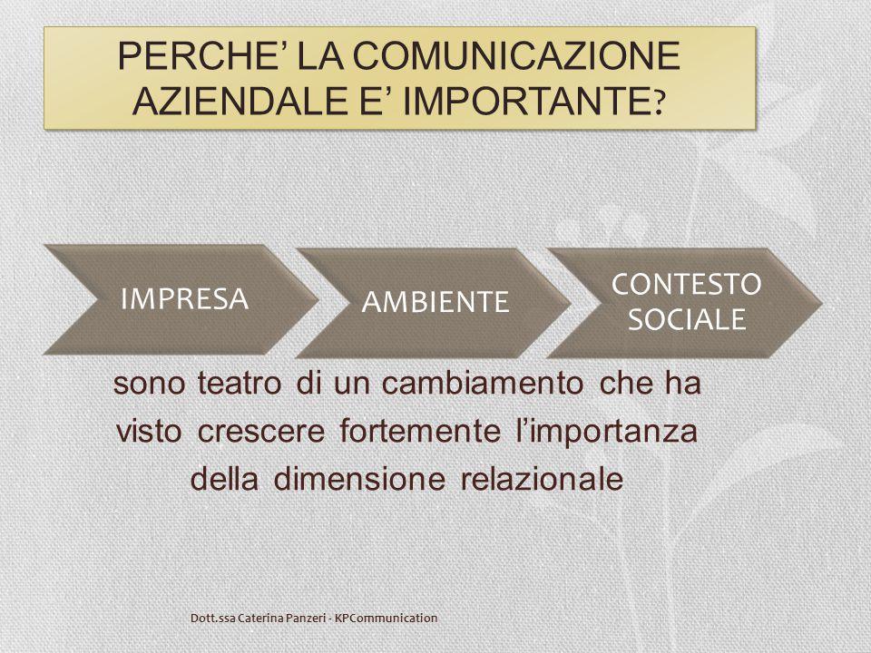 PERCHE' LA COMUNICAZIONE AZIENDALE E' IMPORTANTE ? sono teatro di un cambiamento che ha visto crescere fortemente l'importanza della dimensione relazi