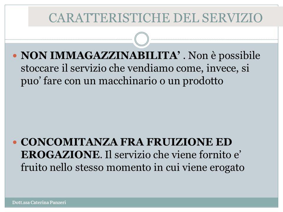 CARATTERISTICHE DEL SERVIZIO NON IMMAGAZZINABILITA'.