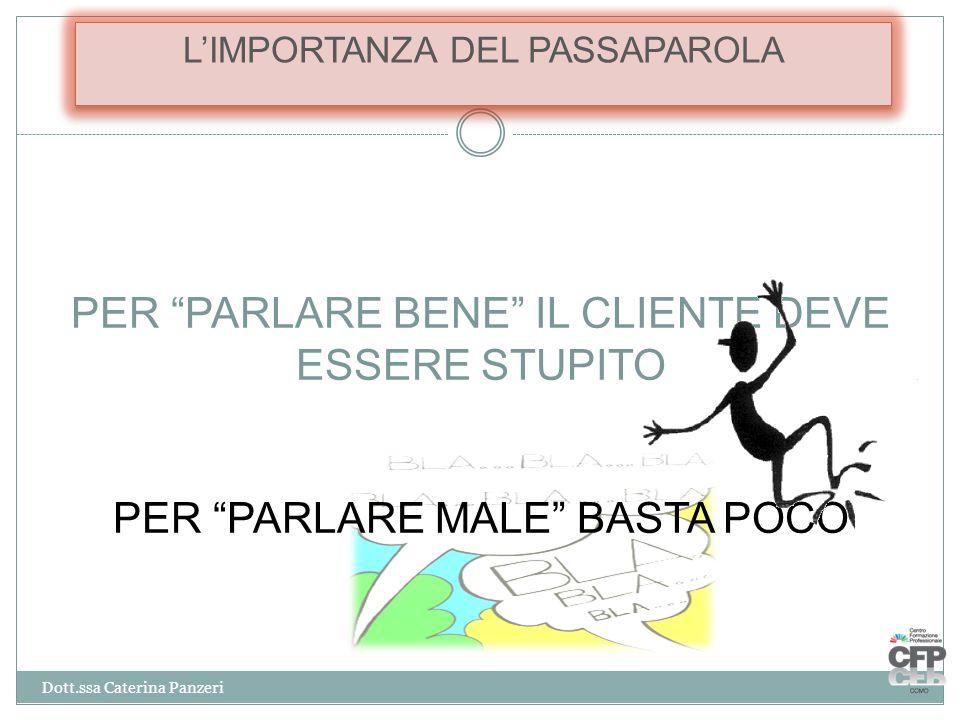"""PER """"PARLARE BENE"""" IL CLIENTE DEVE ESSERE STUPITO PER """"PARLARE MALE"""" BASTA POCO L'IMPORTANZA DEL PASSAPAROLA Dott.ssa Caterina Panzeri"""