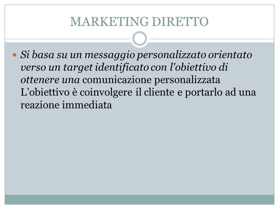 MARKETING DIRETTO Si basa su un messaggio personalizzato orientato verso un target identificato con l obiettivo di ottenere una comunicazione personalizzata L'obiettivo è coinvolgere il cliente e portarlo ad una reazione immediata