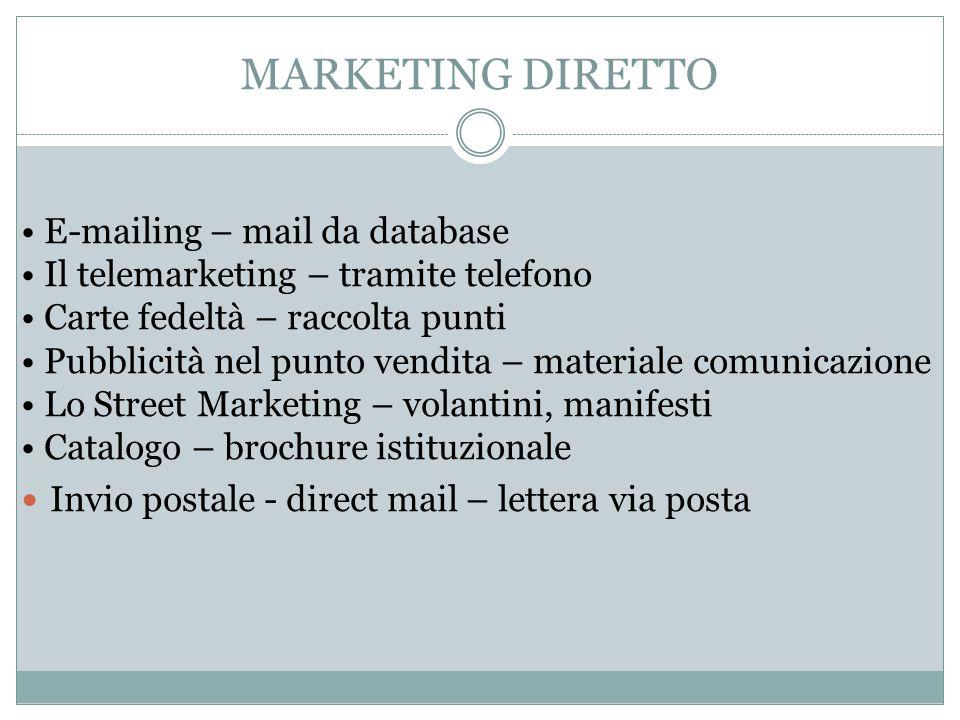 MARKETING DIRETTO E-mailing – mail da database Il telemarketing – tramite telefono Carte fedeltà – raccolta punti Pubblicità nel punto vendita – mater