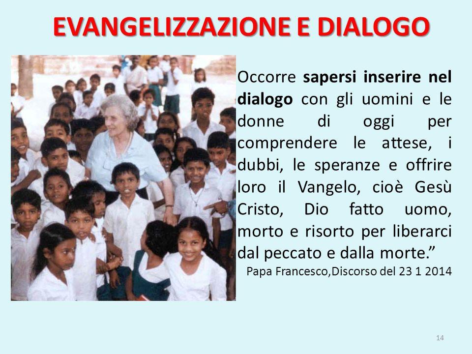 EVANGELIZZAZIONE E DIALOGO Occorre sapersi inserire nel dialogo con gli uomini e le donne di oggi per comprendere le attese, i dubbi, le speranze e of
