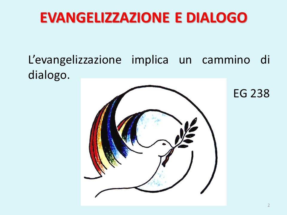 EVANGELIZZAZIONE E DIALOGO L evangelizzazione comporta anche il dialogo sincero, che cerca di comprendere le ragioni ed i sentimenti altrui.