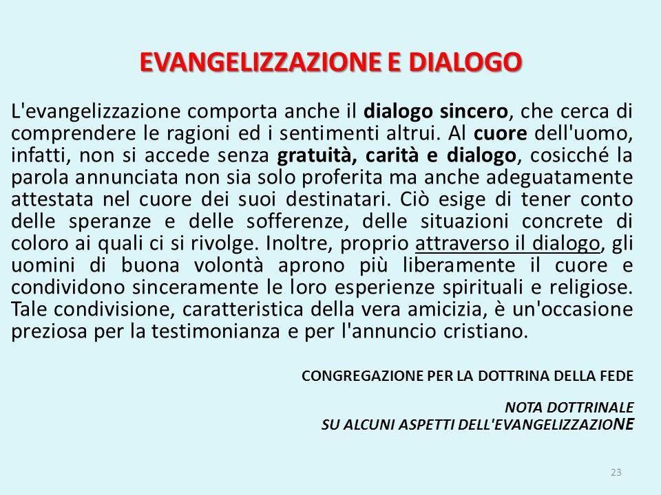 EVANGELIZZAZIONE E DIALOGO L'evangelizzazione comporta anche il dialogo sincero, che cerca di comprendere le ragioni ed i sentimenti altrui. Al cuore