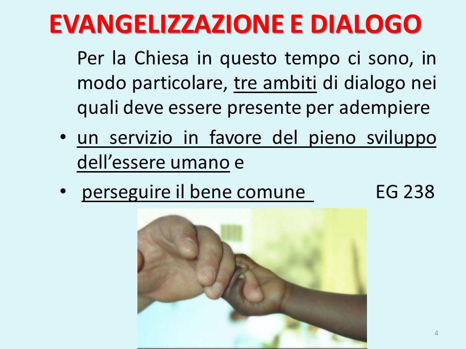 EVANGELIZZAZIONE E DIALOGO Il dialogo con gli Stati con la società – che comprende il dialogo con le culture e le scienze – con altri credenti che non fanno parte della Chiesa cattolica.