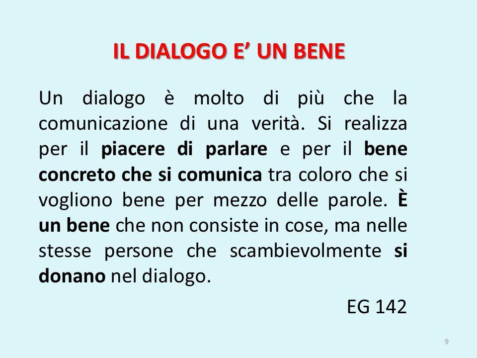 Un dialogo è molto di più che la comunicazione di una verità. Si realizza per il piacere di parlare e per il bene concreto che si comunica tra coloro