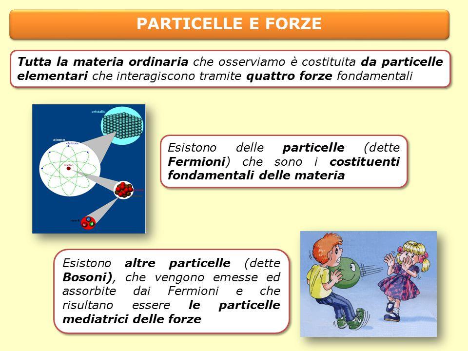 PARTICELLE E FORZE Esistono delle particelle (dette Fermioni) che sono i costituenti fondamentali delle materia Esistono altre particelle (dette Bosoni), che vengono emesse ed assorbite dai Fermioni e che risultano essere le particelle mediatrici delle forze Tutta la materia ordinaria che osserviamo è costituita da particelle elementari che interagiscono tramite quattro forze fondamentali