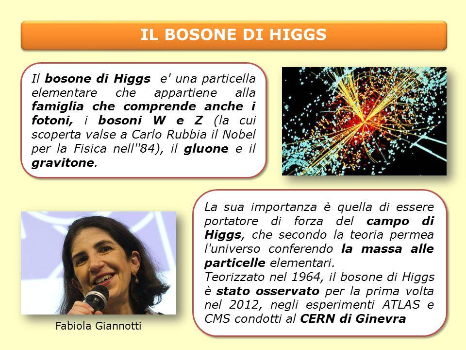 IL BOSONE DI HIGGS Fabiola Giannotti Il bosone di Higgs e una particella elementare che appartiene alla famiglia che comprende anche i fotoni, i bosoni W e Z (la cui scoperta valse a Carlo Rubbia il Nobel per la Fisica nell 84), il gluone e il gravitone.