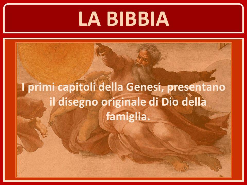 LA BIBBIA I primi capitoli della Genesi, presentano il disegno originale di Dio della famiglia.
