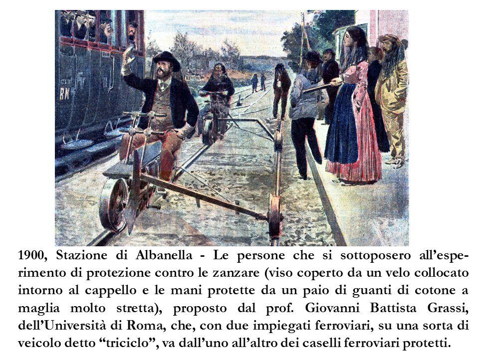 1900, Stazione di Albanella - Le persone che si sottoposero all'espe- rimento di protezione contro le zanzare (viso coperto da un velo collocato intor
