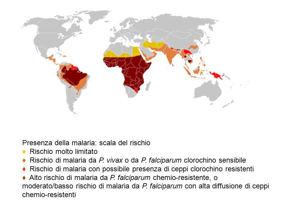 Presenza della malaria: scala del rischio ♦ Rischio molto limitato ♦ Rischio di malaria da P. vivax o da P. falciparum clorochino sensibile ♦ Rischio