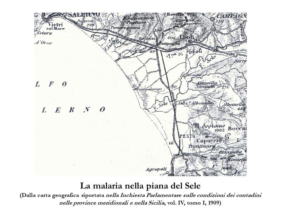 La malaria nella piana del Sele (Dalla carta geografica riportata nella Inchiesta Parlamentare sulle condizioni dei contadini nelle province meridiona