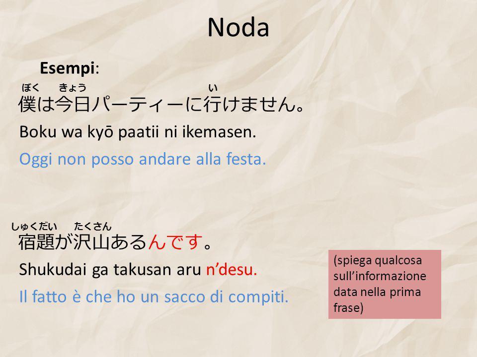 Noda Boku wa kyō paatii ni ikemasen. Oggi non posso andare alla festa.