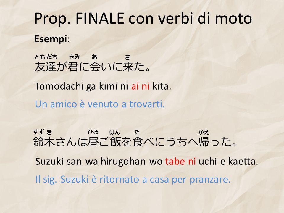 Prop. FINALE con verbi di moto Esempi: 友達が君に会いに来た。 Tomodachi ga kimi ni ai ni kita.